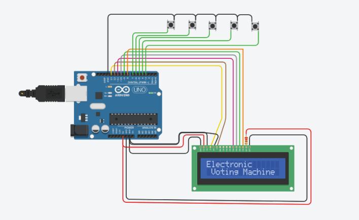Electronic Voting Machine using Arduino & LCD