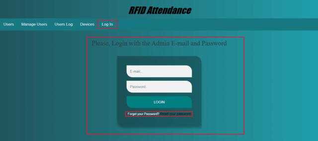 RFID Attendance Admin Panel Login System