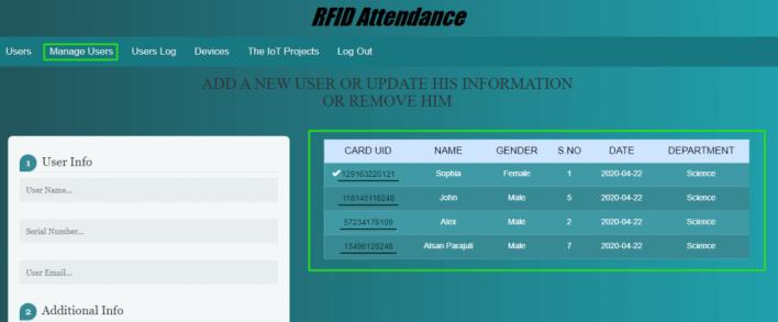 RFID Attendance User Management System using esp32
