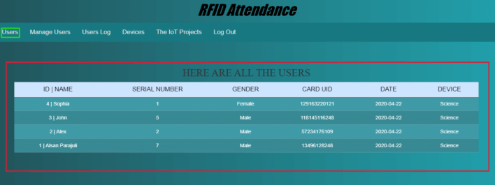 View and Manage Users using RFID Attendance system using ESP32