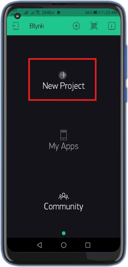 Blynk App configuration for IoT based Fire Detector - Create Project