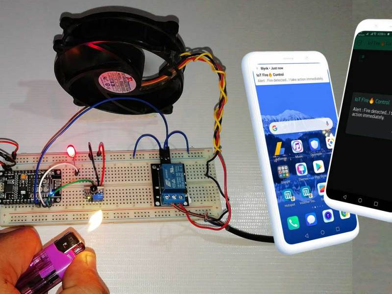 IoT based Fire Detector & Automatic Extinguisher using NodeMCU