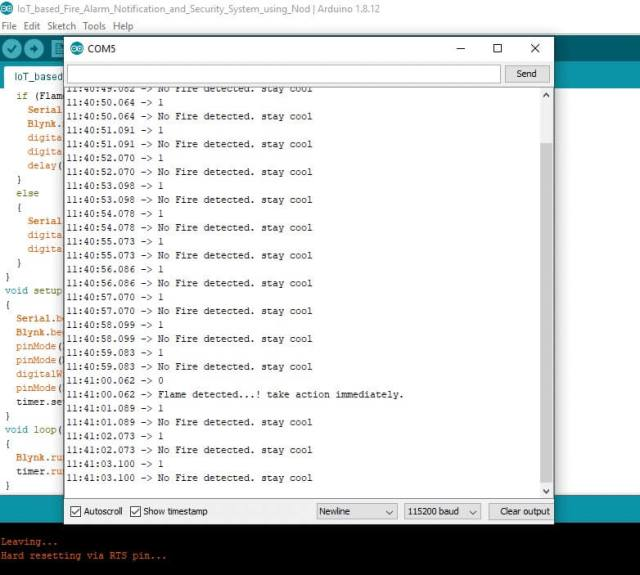 data on serial monitor