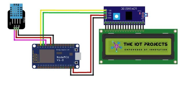 Circuit diagram of IoT based weather station using DHT11 and ESP8266