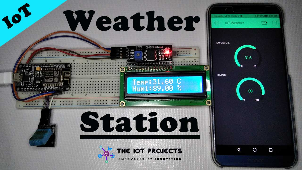 IoT Weather Station using DHT11 Sensor NodeMCU ESP8266 and LCD