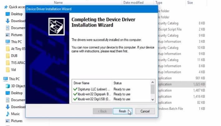 installing Atiny85 Digispark device driver