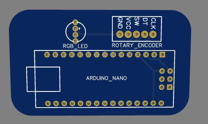PCB of RGB LED Controller using Arduino and Rotary Encoder