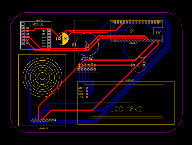 PCB For RFID based Attendance System using Arduino & SIM800L Module