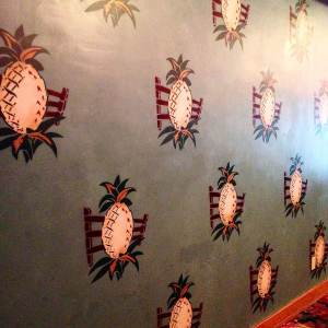 The original pineapple decor still lines the walls of the Surf Ballroom. Your eyes are immediately drawn to it design as you enter the foyer. At the Surf Ballroom in Clear Lake, IA.