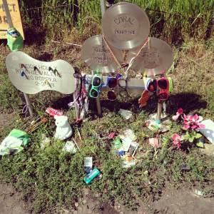 At the end of the trail. The memorial that marks the fatal crash site. Many people leave notes, guitar picks and glasses. Near Clear Lake, IA.