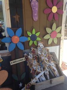 And the last stop at Bluff Lake Catfish Farm was their gift shop. Monie grabbed a few of their decorative garden stakes. because you need that stuff that' s why!