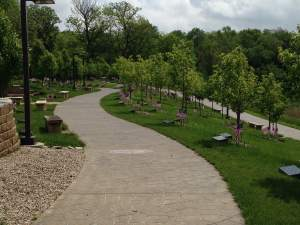 JFK Memorial Park supplies a peaceful ride or relaxing stroll through the woods near Fort Dodge. http://www.webstercountyia.org/KennedyPark.htm