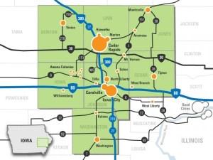 A map of Iowa's Creative Corridor. Team Goodvin tackles northern Johnson County.  http://creativecorridor.co/