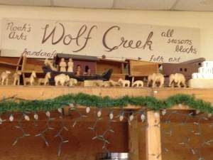 Just down the street from the courthouse  is a place called Wolf Creek that makes some folk art that we think the visiting bike riders will enjoy.
