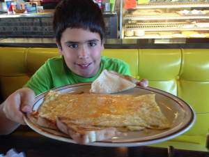 Somewhere behind this huge omelet is my son. Let's call it awesome shall we.