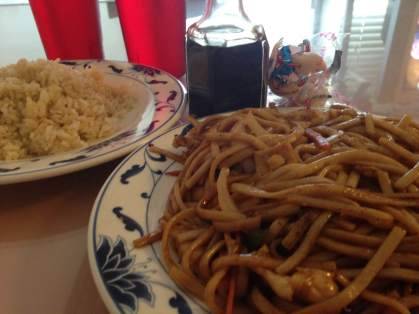 Fried rice and chicken Low Mein from the Oriental Palace in Glenwood, Iowa