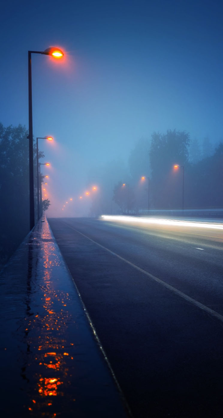 Wallpapers For Guys And Girls Street Lights Sidewalk Rain The Iphone Wallpapers