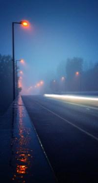 Street Lights Sidewalk Rain
