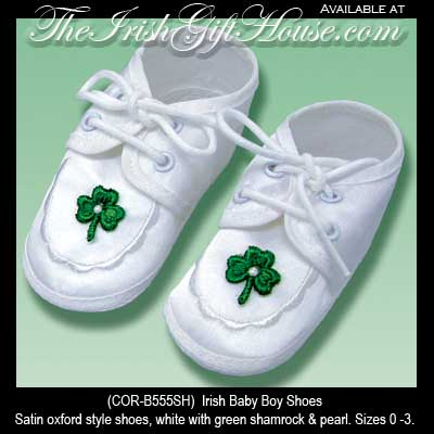 Green Shamrock Baby Boy Shoes  Irish Christening Gifts