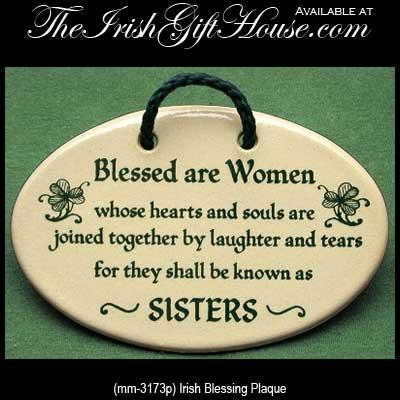 Irish Blessing Plaque  Blessed are Women