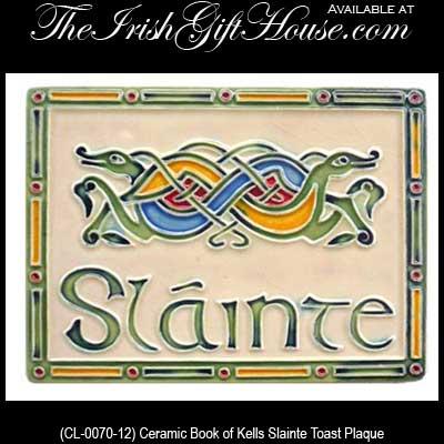 Irish Gifts  Ceramic Book of Kells Slainte Toast Plaque