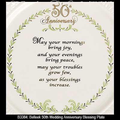 Belleek Plate 50th Wedding Anniversary