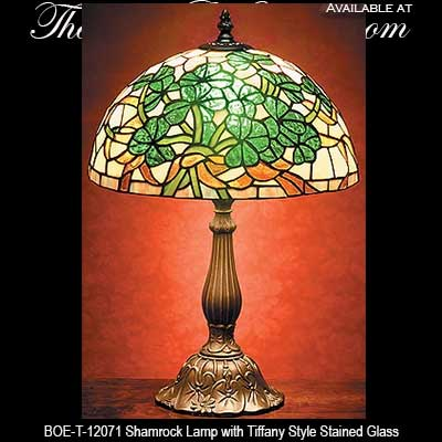 Irish Lamp Shamrock  Stained Glass