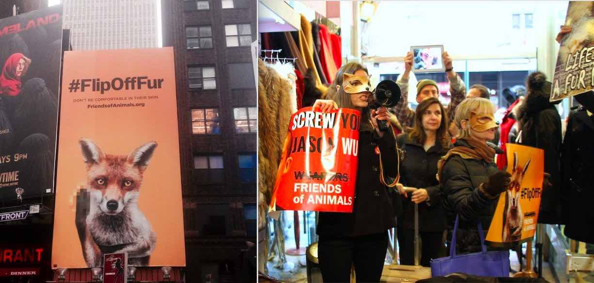 Friends of Animals holds in store protests and puts up anti-fur billboards.