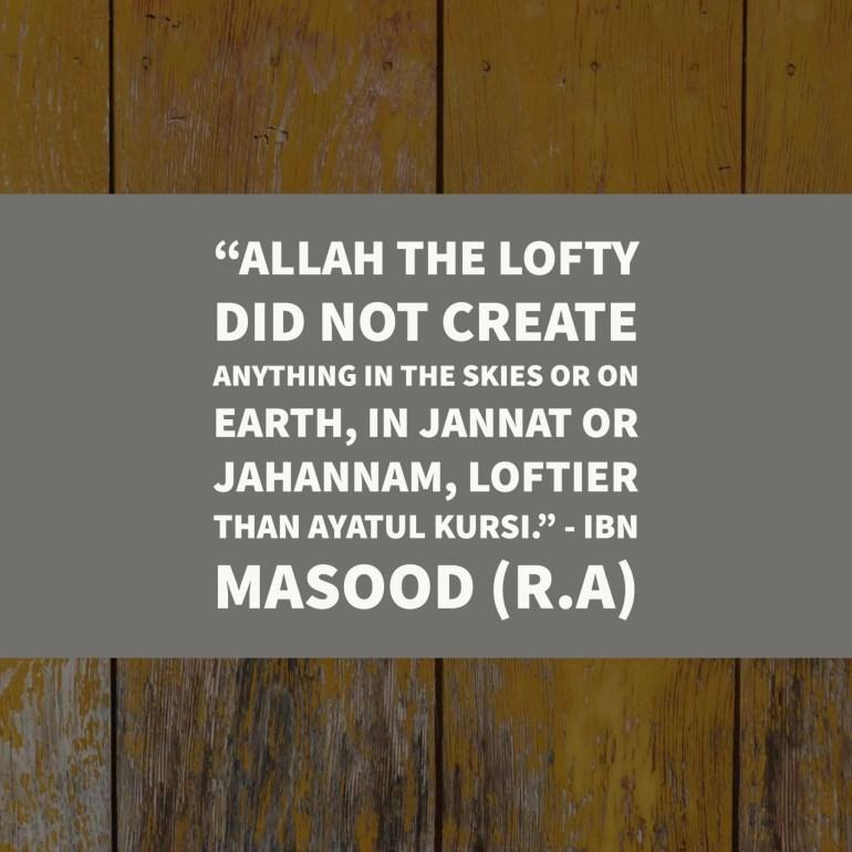 ibn masood about ayat ul qursi