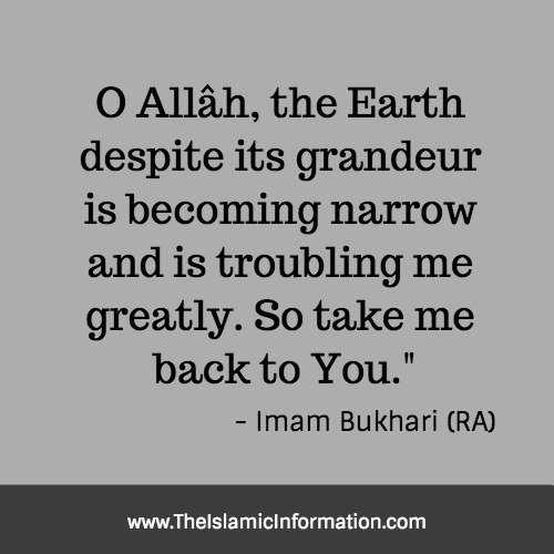 imam bukhari prayer before dying