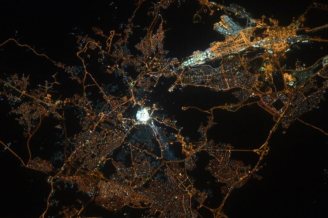 Makkah from space night time 1