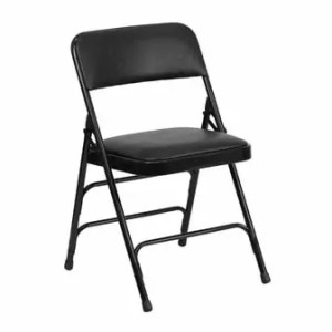 black folding chair, chair, seating, dinner party, waiheke, hire
