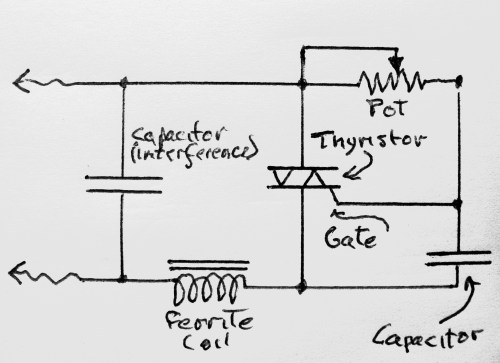 small resolution of circuit for the leviton dimmer the potentiomer thyristor and capacitor comprise the basic