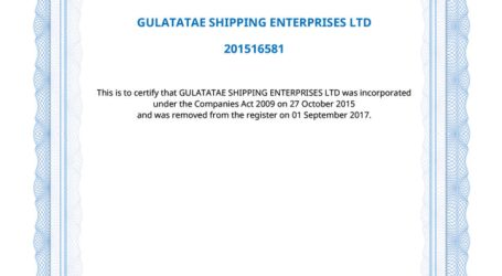 Gulatata'e shipping enterprise ltd and its sister company de-registered