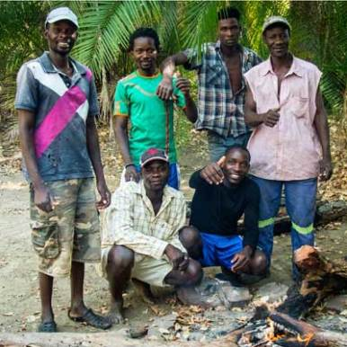 Future head guide Edwin (top right) and some of the fishermen who will form The Island team