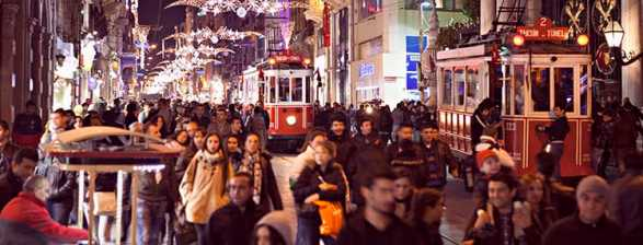 Picture of Christmas decorations in Beyoğlu - Istanbul, Turkey.