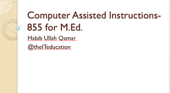 Computer Aided Instructions PPT pdf slides
