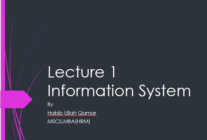 Information System Pdf Slides download - UOS BSIT Course Code: IT-2410