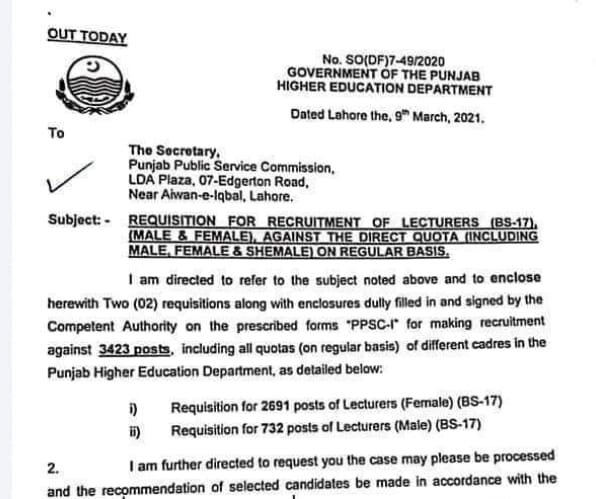 PPSC Lecturer Jobs