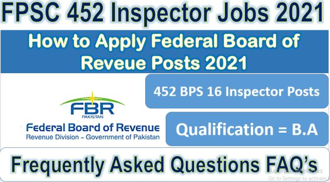 FPSC 452 Inspector Inland Revenue Posts 2021
