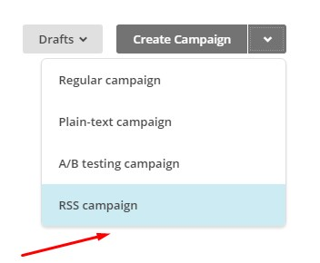 choose RSS campaign for mailchimp
