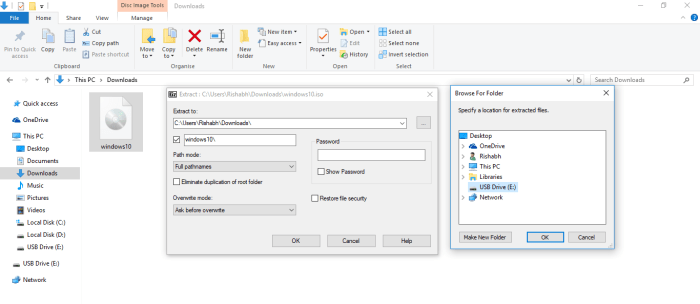 extract Windows iso to usb