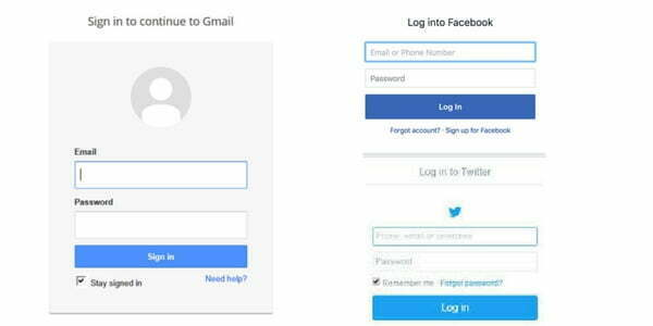 gmail, facebook login page
