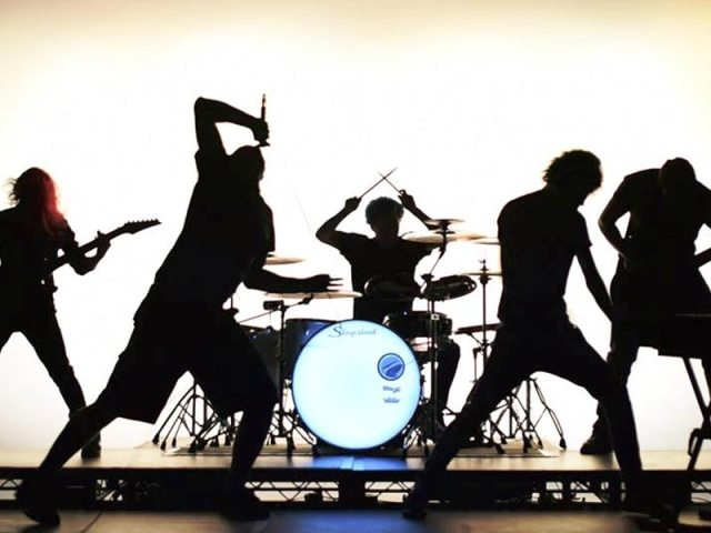 Band silhouette from the Darkness Within Her video shoot