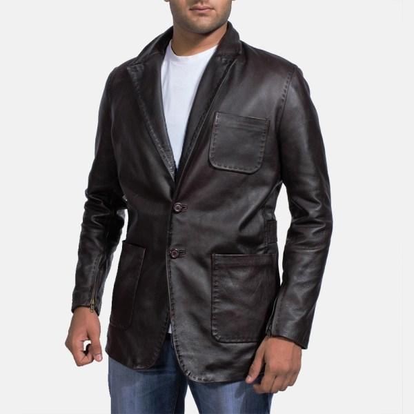 Mens Wine Black Leather Blazer