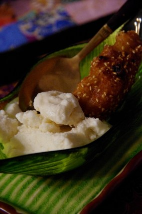 Fried Banana with Coconut Ice cream at Silom Thai Cooking Class