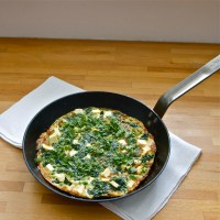 Pea, spinach & mint frittata with ricotta salata