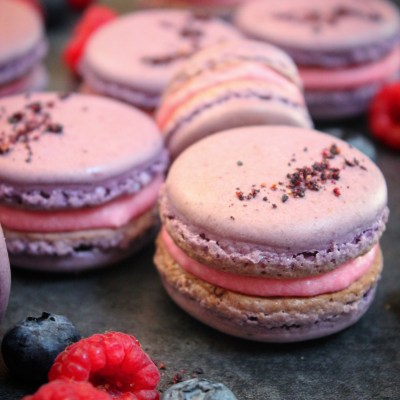 Berry Macarons with Hibiscus Tea Buttercream