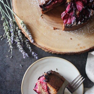 Pluot and Lavender Hazelnut Cake