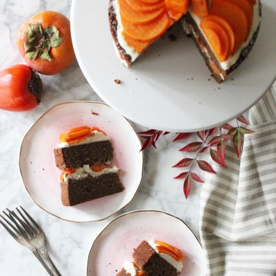 Two-Layer Persimmon Cake with Vanilla Bourbon Cream Cheese Frosting